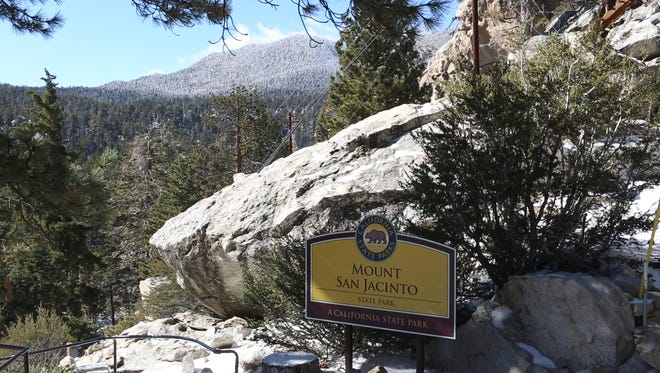 A fresh coat of snow covers the ground at the top of the Palm Springs Aerial Tramway, Monday, November 16, 2015.