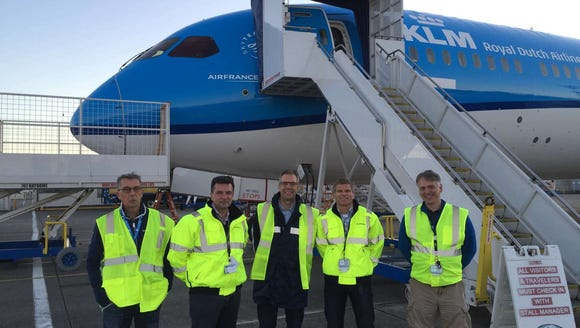 KLM's 'acceptance team' in front of the first Boeing