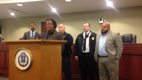 Left to right: City business administrator Michael Doweary, Mayor Kim Bracey, police Chief Wes Kahley, fire Chief David Michaels and Shilvosky Buffaloe, interim director of the city's Department of Economic and Community Development, are shown during the budget presentation.