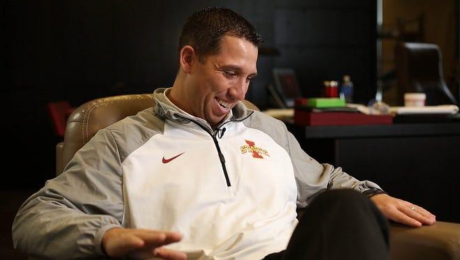 Iowa State head football coach Matt Campbell in his office at the Bergstrom football complex Tuesday Dec. 15, 2015, in Ames, Iowa.
