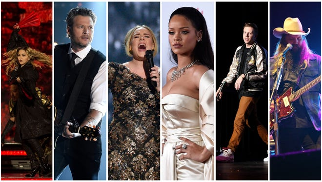 Madonna, Blake Shelton, Adele, Rihanna, Macklemore and Chris Stapleton are just six of the headliners in Nashville in 2016.