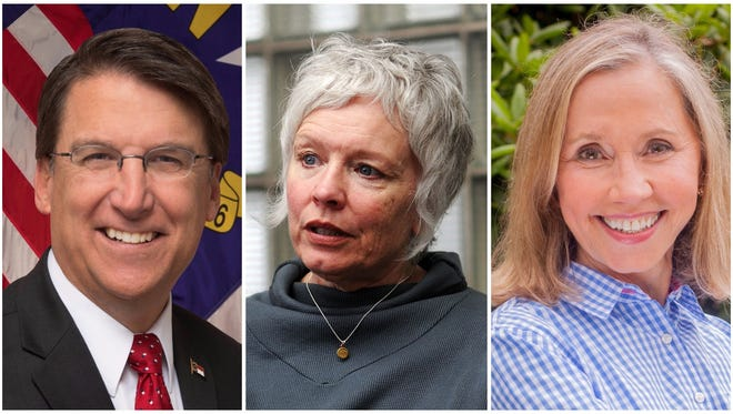 Gov. Pat McCrory, Rep. Susan Fisher, Sen. Terry Van Duyn