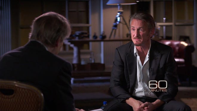 Sean Penn with Charlie Rose of '60 Minutes' in interview to air Jan. 19, 2016.