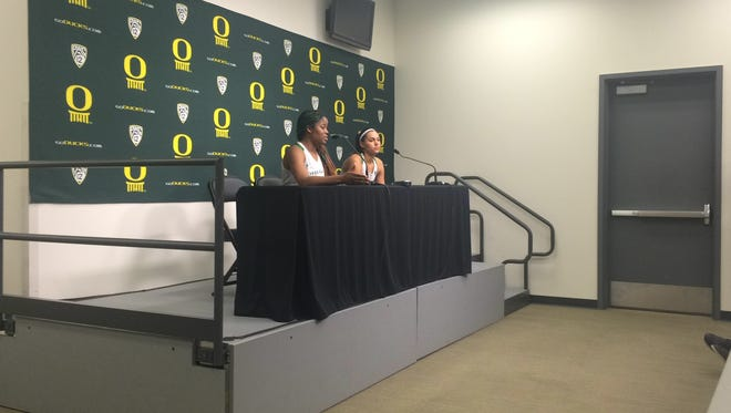 Oregon players Jillian Alleyne (left) and Lexi Petersen talk to the media after beating California on Sunday.