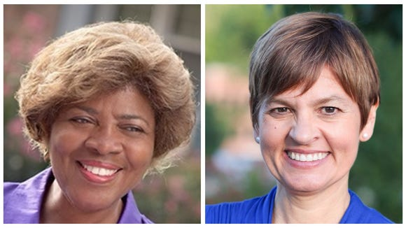 Democratic candidates for lieutenant governor Linda Coleman, left, and Holly Jones