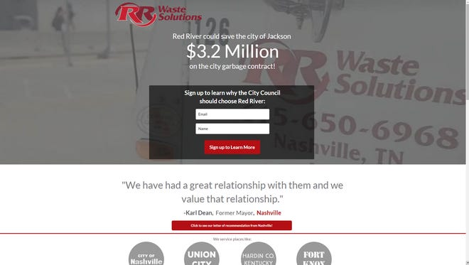 Red River created a website to promote its bid for Jackson's garbage contract