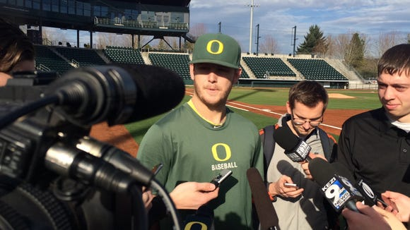 Cole Irvin addresses the media on Wednesday.