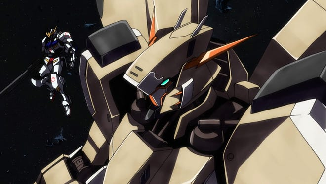 "Akihiro's Gundam Gusion Rebake makes its debut on the battlefield in ""Gundam Iron-Blooded Orphans Episode 17: Kudelia's Decision."""