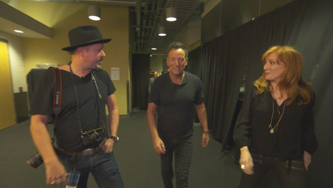"""Danny Clinch, Bruce Springsteen and Patti Scialfa in Pittsburgh on """"60 Minutes"""""""