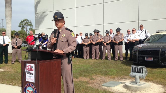FHP Lt. Greg Bueno addresses press conference on hit-and-run accident prevention on Monday, Feb. 15, 2016.