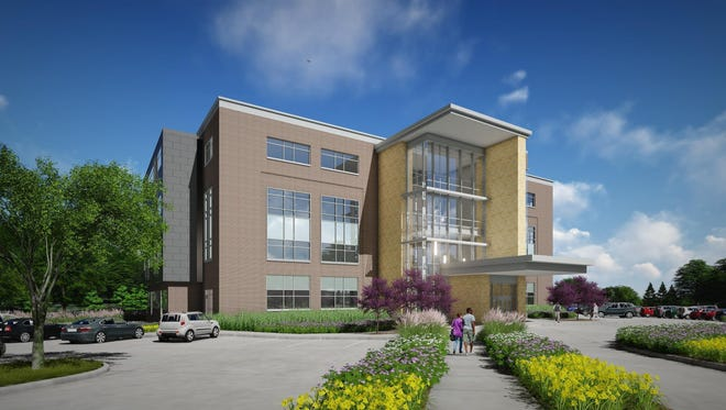 An architect's drawing shows a $24 million outpatient mental health center planned by Broadlawns Medical Center in Des Moines. The building, which will be east of the main hospital, will also house dental, pain relief and family practice programs.