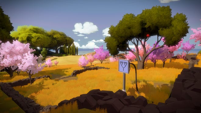 "In ""The Witness,"" puzzles are solved by simply drawing a line."