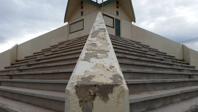 The pyramid-shaped seating structure at Swope Ballpark in southwest Reno is deteriorating and in danger of being torn down and a grass-roots fundraising effort is underway to refurbish the structure.