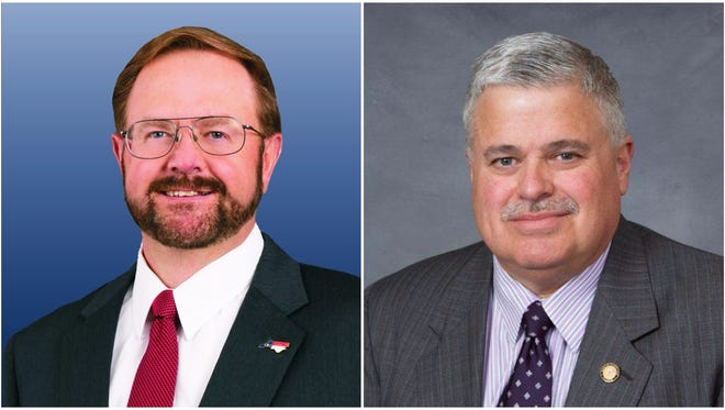 Chuck Edwards, left, and Sen. Tom Apodaca.