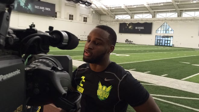 Bralon Addison talks to the media during pro day Thursday.