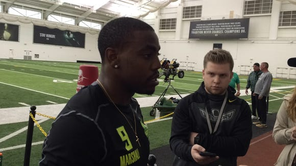 Byron Marshall talks to the media during pro day Thursday.