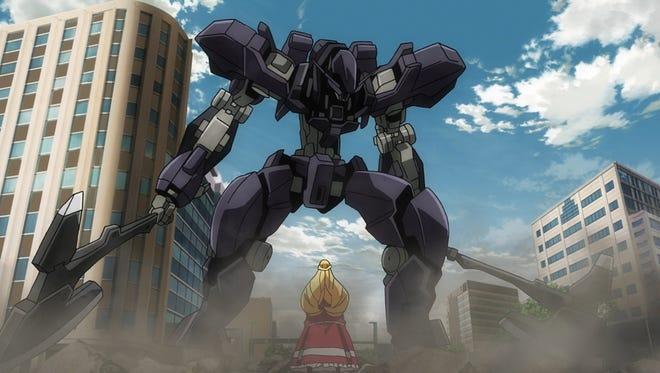 "Kudelia faces off against the  EB-AX2 Graze Ein in ""Gundam Iron-Blooded Orphans Episode 24: A Future Reward."""