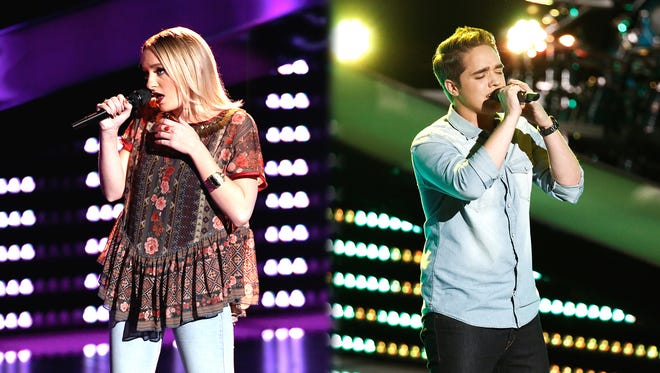 """Trey O'Dell and another performer sing on NBC's """"The Voice."""""""