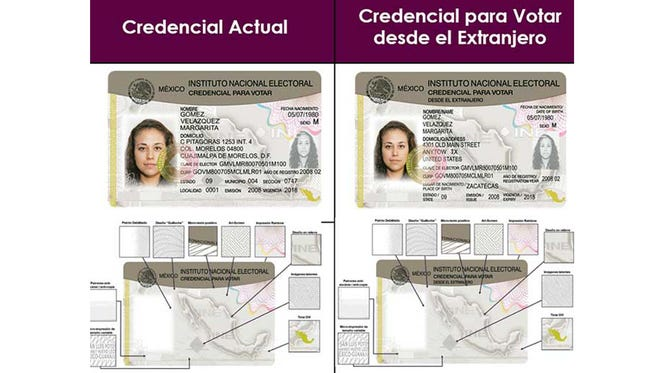 Examples of a Mexican voter ID card given to Mexicans living in Mexico and a voter ID card that will be given to Mexicans living abroad.