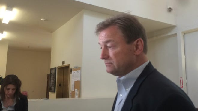 U.S. Sen. Dean Heller, R-Nev., talks to media following a veteran's roundtable.