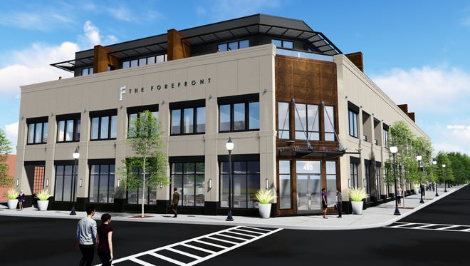 A rendering for The Forefront, a 10-unit, ultra high-end condo development in downtown Birmingham. The first floor will house commercial space.