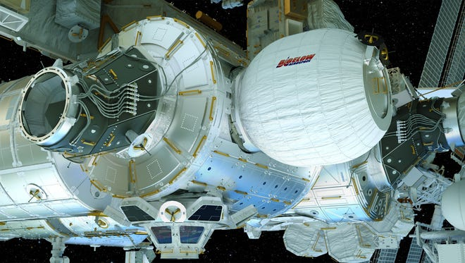 Concept image of the Bigelow Expandable Activity Module, or BEAM, deployed on the International Space Station.