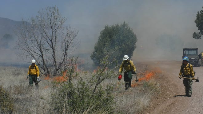 This image provided by the Gila National Forest show crews managing a prescribed fire northeast of Silver City, N.M., on April 20, 2016. The forest also is planning a more than 15 square-mile prescribed fire this spring in a remote stretch of the forest known as Area 74 as part of the U.S. Forest Service's $375 million nationwide campaign to clean up overgrown forests and reduce the threat of catastrophic wildfire.