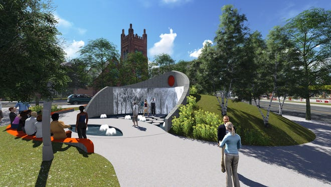 A design concept of Caddo Common urban greenspace in Shreveport Common, downtown Shreveport by Nicholas and Associates