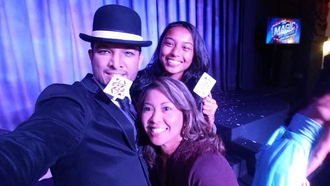 """The Scene"" writer Jason JD Iriarte performs at his magic show ""Magic of Guam"" with a broken nose. Contouring with makeup made his crooked nose appear straight."