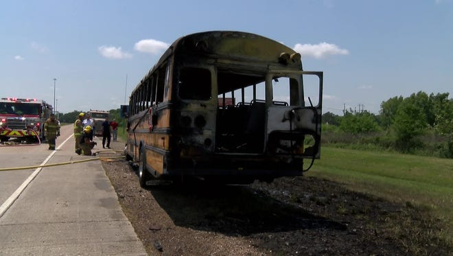 A Lafayette Parish school bus returning to Prairie Elementary School from a field trip to Henderson caught fire.