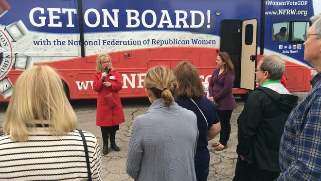 Carrie Almond, president of the National Federation of Republican Women, speaks during a stop Wednesday, May 11, 2016, at Robbins Restaurant in Oshkosh. The stop was part of its Destination: White House Tour, which also will stop in Appleton and Green Bay.