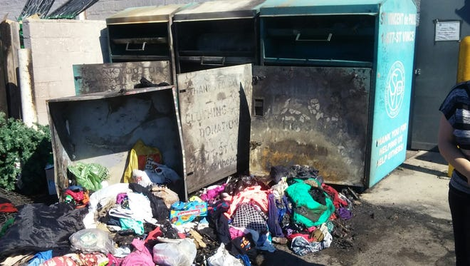 Arsonists set fire to three donation bins in Lincoln Park.
