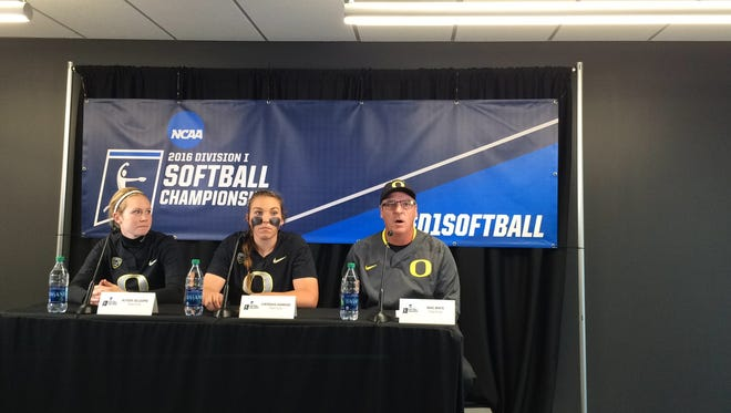 Oregon's Alyssa Gillespie (left), Cheridan Hawkins (center) and Mike White talk to the media after beating Baylor on Sunday to win the NCAA regional.