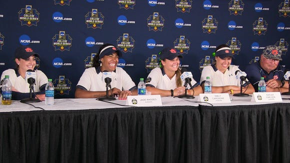 Auburn players (l to r)  Kasey Cooper, Jade Rhodes,