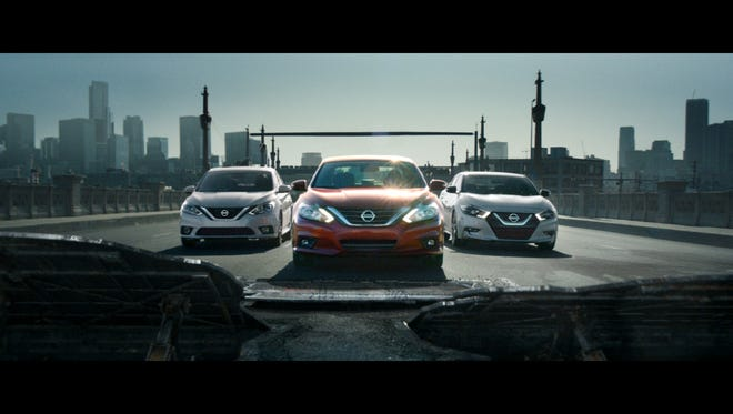 Nissan is launching a new ad campaign with eight new commercials including this one, with the Nissan Altima pictured in the center.