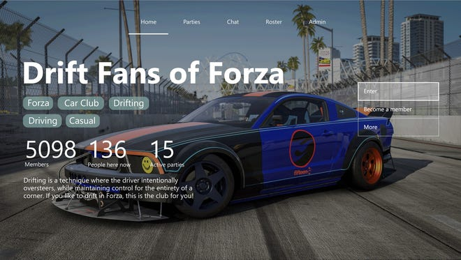 An example of an Xbox Live Club featuring the game Forza Motorsport.