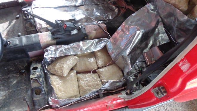 Marijuana packages were found hidden in a Volkswagen Beetle.