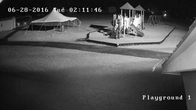The Chemung County Sheriff's Office says two people are responsible for damaging a tent at Goodwin Park in Southport.