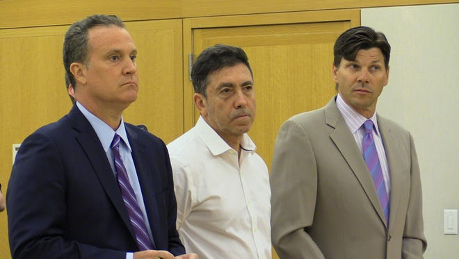 Jules Reich, center, and his attorneys John Pappalardo, left and Dan Mentzer, appears in Judge Barbara Zambelli's court at the Westchester County Courthouse, July 5, 2016.