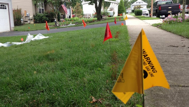 Properties on Woodlane Drive are peppered with flags marking utility line, residential lawn sprinkler lines, and areas where EPA crews have harvested soil samples.