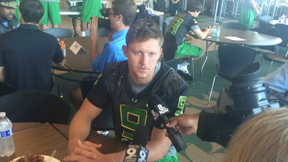 Oregon quarterback Dakota Prukop answers questions
