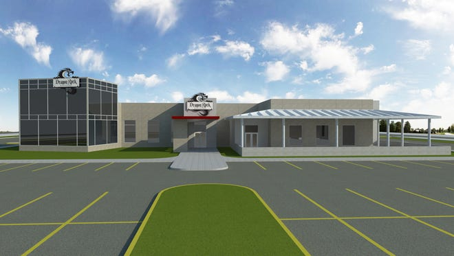 An artist's rendering of the proposed Dragon Rock Distillery at the southeast corner of Commerce Parkway East Drive and Main Street, just east of I-65 in Greenwood.