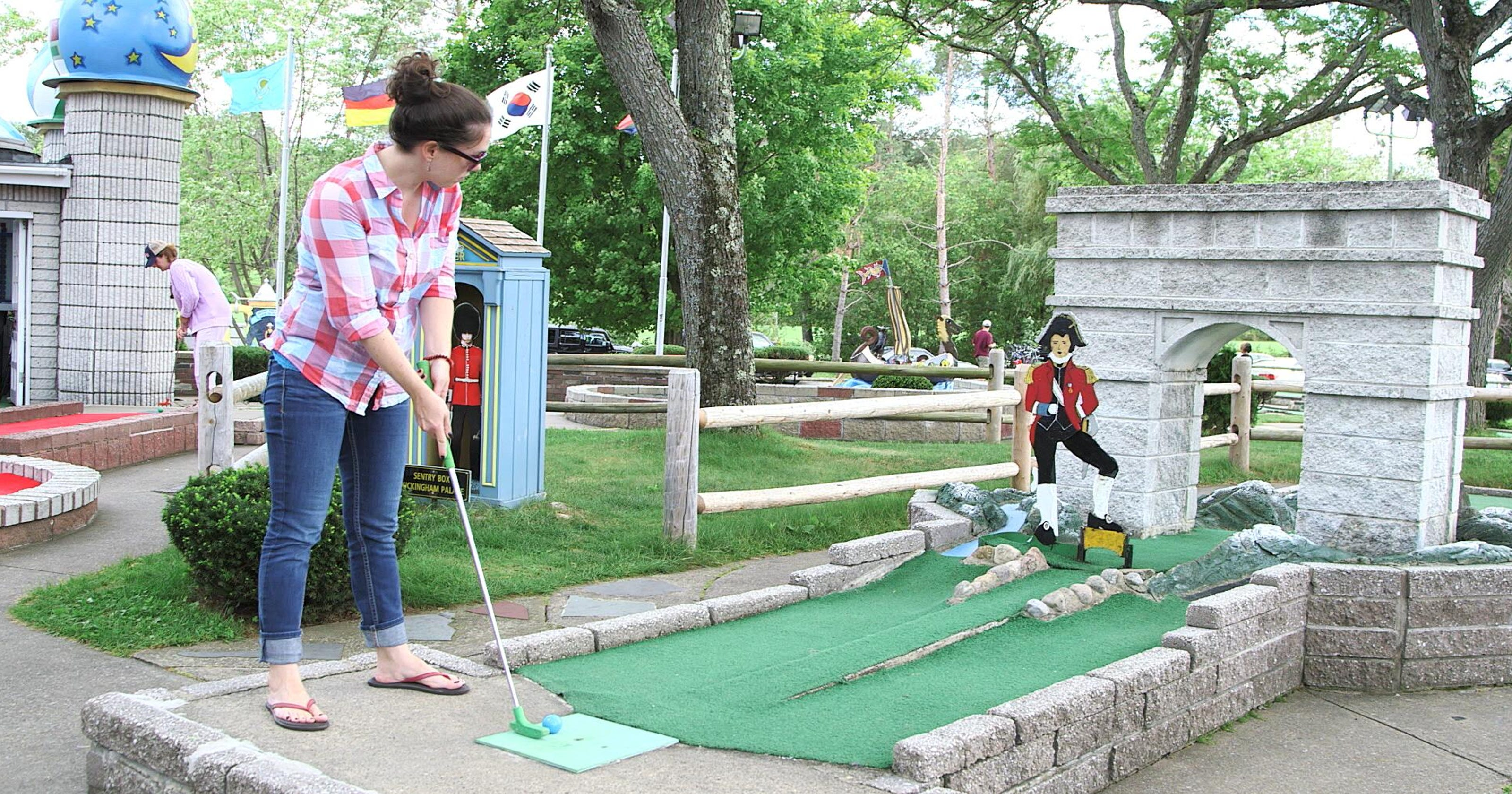 10 great courses to celete mini-golf's centennial on baseball golf, hockey golf, plinko golf,