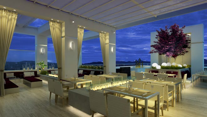 Renderings of the rooftop restaurant at the AC Hotel.