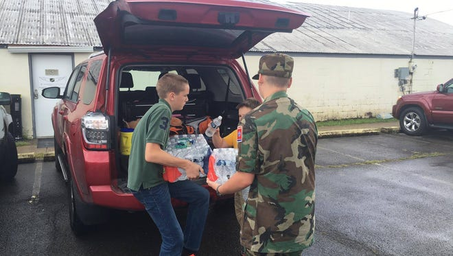 Murfreesboro Composite Squadron cadets help with donated supplies for Louisiana flooding victims. Items will be taken there later this weekend and donations are still being accepted.