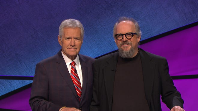 "Scott Bateman of Beacon, right, and ""Jeopardy!"" host Alex Trebek."