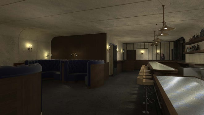 A rendering shows the upcoming Attaboy Nashville bar.