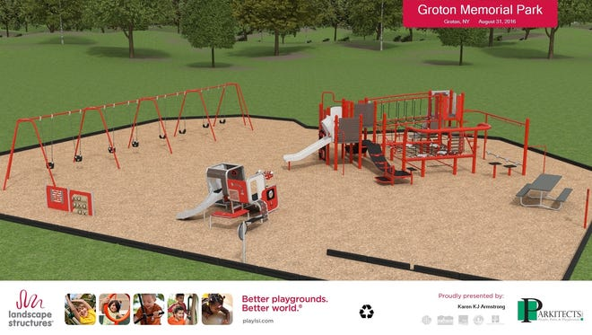 """A rendering of the new playground planned for Groton Memorial Park. A """"community build"""" is scheduled for Oct. 14 and 15."""