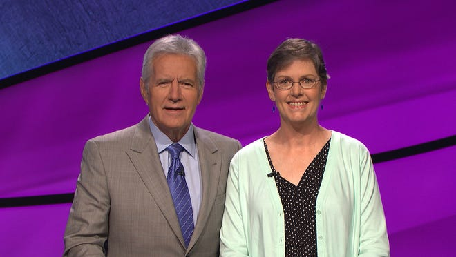 """Anne Exler of Underhill , shown with host Alex Trebek, competed Tuesday on the television quiz show """"Jeopardy!"""""""