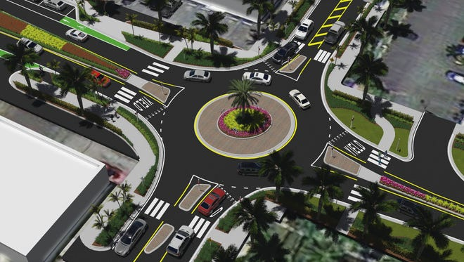 Rendering of roundabout at Central Avenue and 10th Street in Naples.